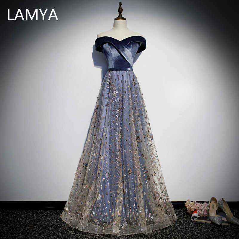 LAMYA Elegant High Quality Long Sequined A Line Evening Party Dress Bodice V Neck Velour Prom Gown Plus Size Vestido De Festa