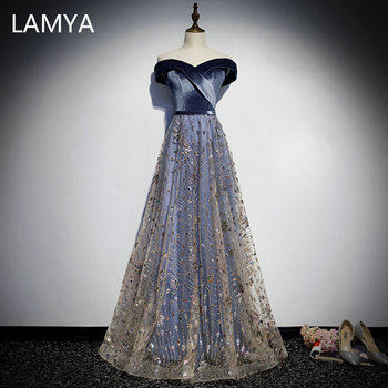 LAMYA Elegant High Quality Long Sequined A Line Evening Party Dress Bodice V Neck Velour Prom Gown Plus Size Vestido De Festa