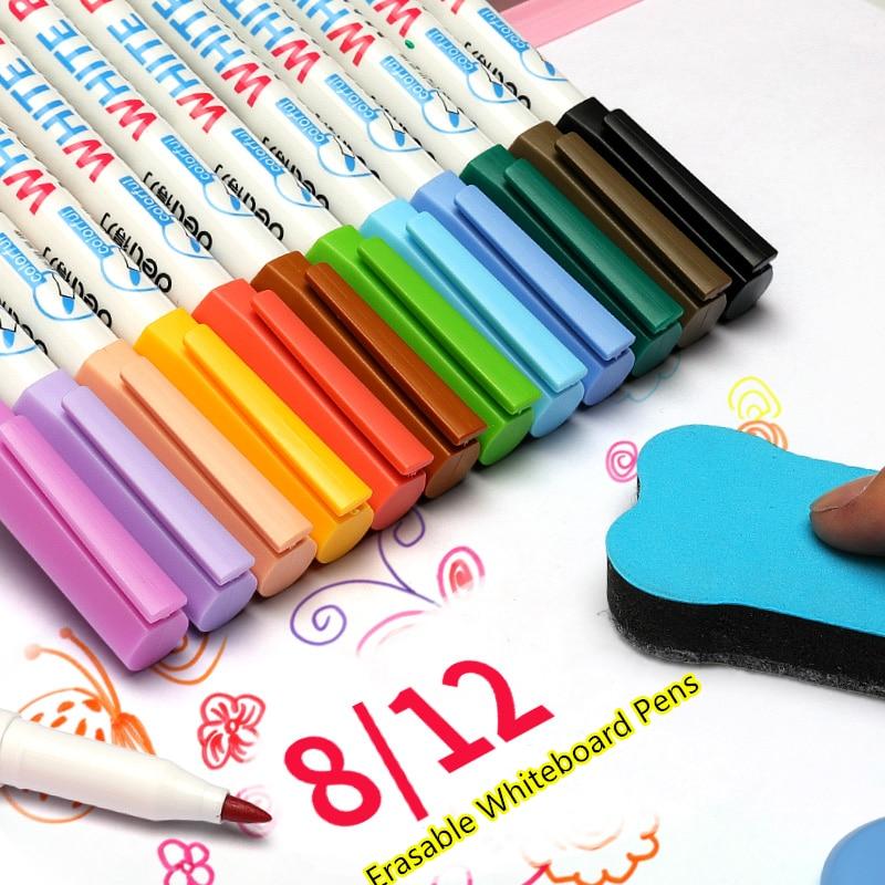 Multi 12 Color Whiteboard Pen Set Erasable Marker Pen For White Board Glass Kids Drawing Office Meeting School Teacher A6759