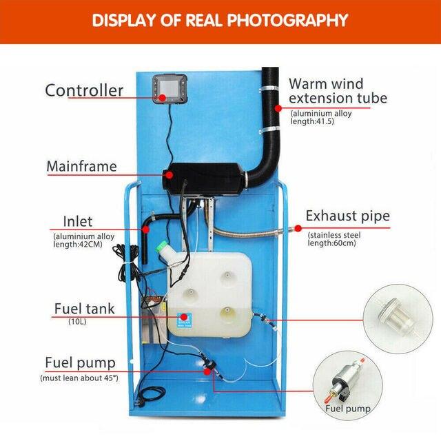 12V 5000W LCD moniteur Air diesels chauffe-carburant simple trou 5KW pour bateaux Bus voiture chauffage avec télécommande et silencieux gratuitement 3