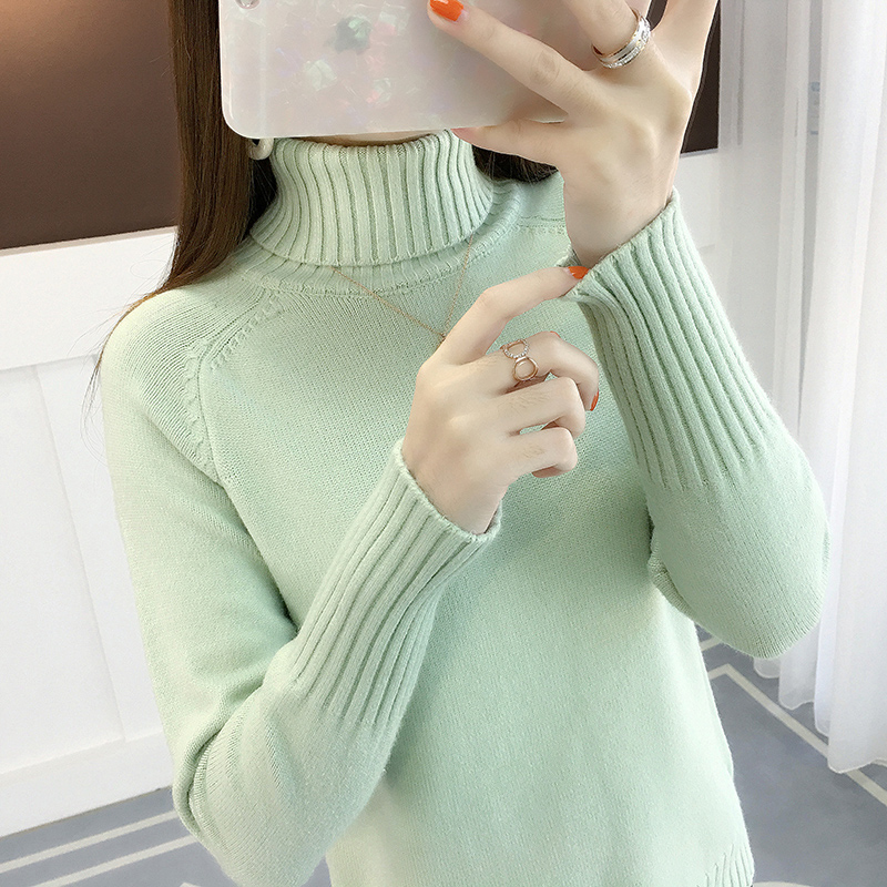 Women Turtleneck 2019 Winter Thick Warm Knitted Pullover Sweater Women Jumper Long Sleeve Green Pink Khaki Sweater Female
