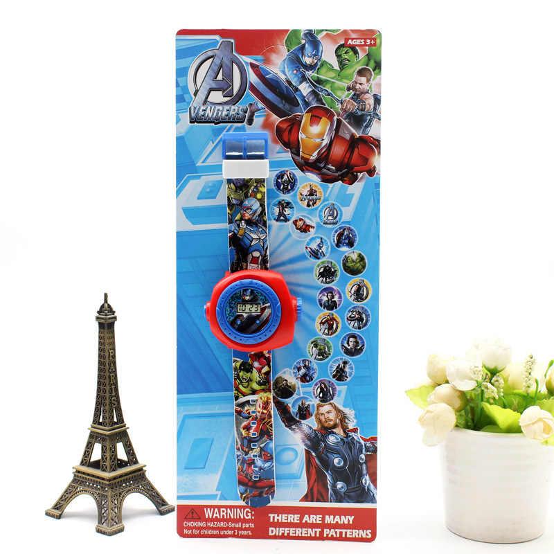 Figuras de acción de Ironman, Hulk, muñecos de Spiderman con 20 imágenes LED, reloj Digital, rompecabezas, 1 Uds.