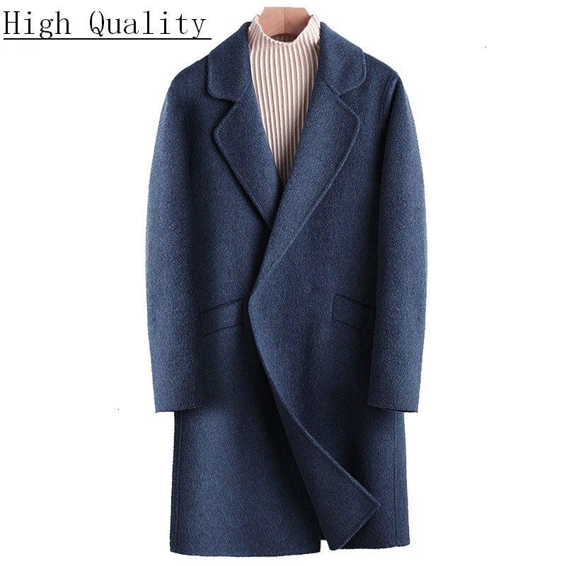 Men's Coat Double-sided Long Wool Coat Man Jacket Alpaca Mens Coats and Jackets Windbreaker Abrigo Hombre 846 KJ1475