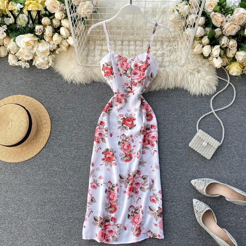 YuooMuoo Ins Fashion Vacation Midi Dress New Arrival 2020 Summer Spaghetti Strap Flower Print Bandage Dress Split Bohemian Dress