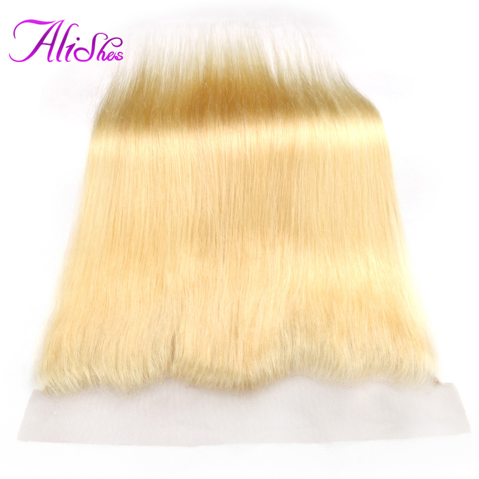 Alishes Brazilian Straight 13x4 Transparent Lace 613 Frontal 10-20 Remy Blonde Human Hair Frontal Ear to Ear Natural Hairline image