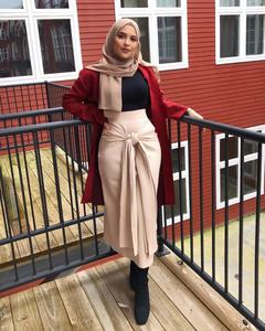 High Waist Muslim Long Skirt Women Lace-up Skinny Slim Pencil Skirts Islam Fashion Ankle-length Maxi Skirts Islamic Clothing