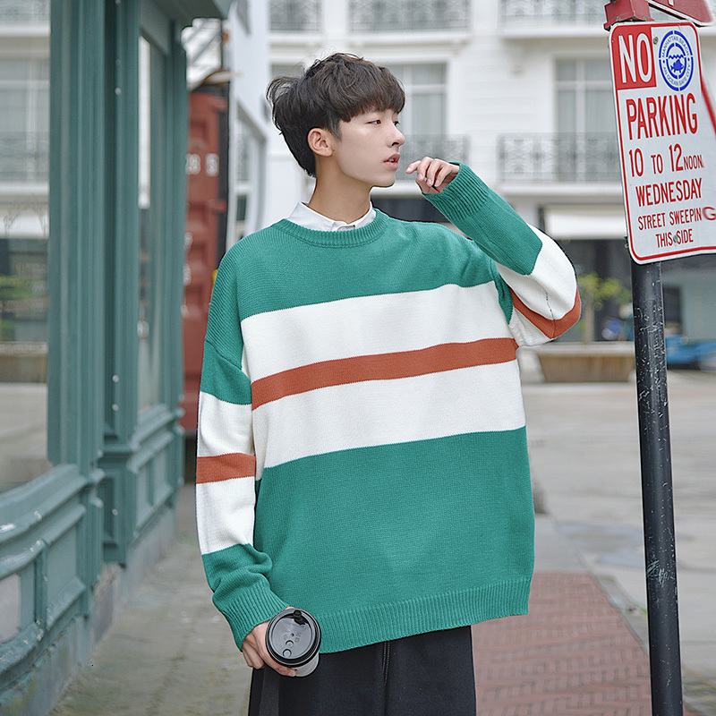 Winter Sweater Men's Warm Fashion Hit Color Casual O-neck Knitted Pullover Man Streetwear Loose Long Sleeve Sweater Male Clothes