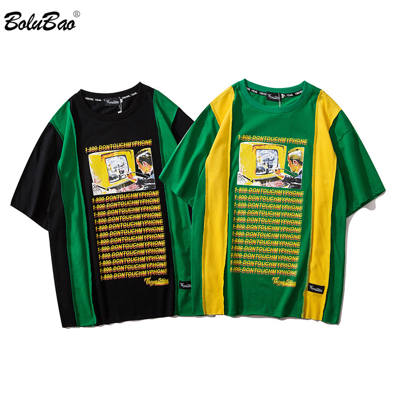 BOLUBAO New Male Splice Letter Print Short Sleeve T-Shirt Hip Hop Casual 2020 Fashion Cotton Tees Men's Street T Shirts