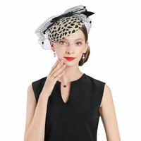 Fascinators Hats Wedding Leopard Pillbox Hat With Veil 100% Australian Wool Felt Hat Women Church Vintage Bow Cocktail Fedoras