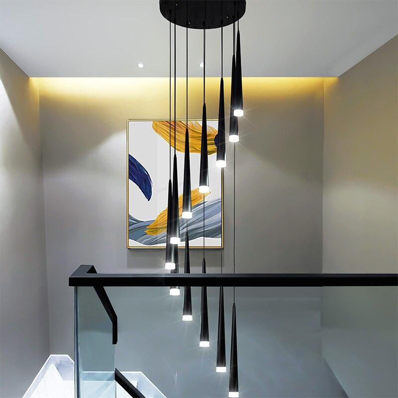Люстра для лестницы, простая современная атмосфера, дуплексное здание для квартир, спальни, ресторана в скандинавском стиле, длинный потоло...