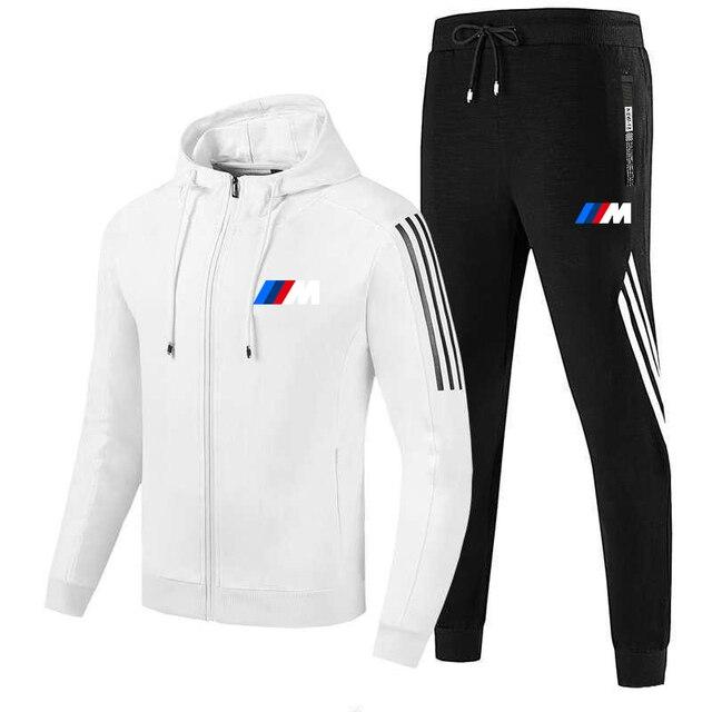 New  M men's fall/winter suit zipper hoodie + pants two pieces of casual sportswear men's sportswear gym brand clothing sport 3