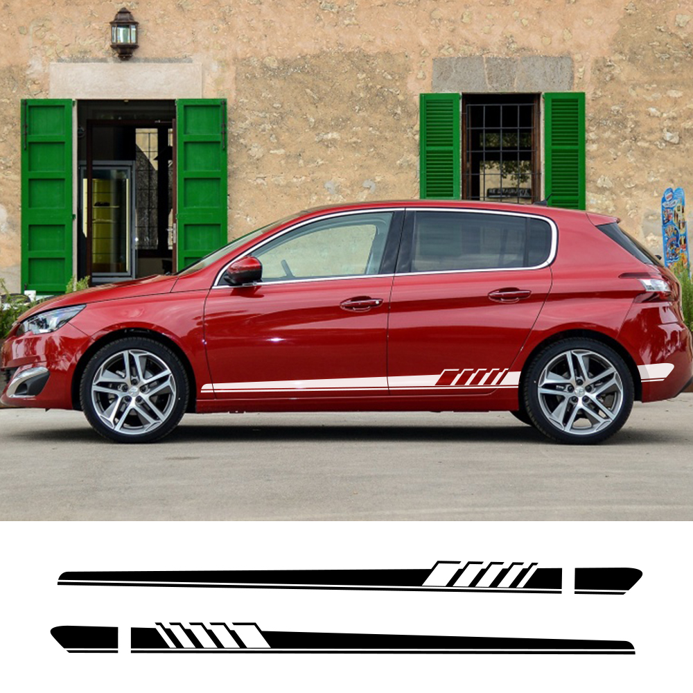2Pcs For Peugeot 307 206 308 407 207 3008 208 508 2008 301 408 607 4008 5008 Car Long Side Stripe Sticker Car Tuning Accessories