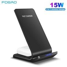 FDGAO 15W 2 in 1 Qi caricabatterie a induzione con supporto di ricarica Wireless veloce per Samsung S21 S20 S10 iPhone 12 11 XS XR X 8 Airpods Pro