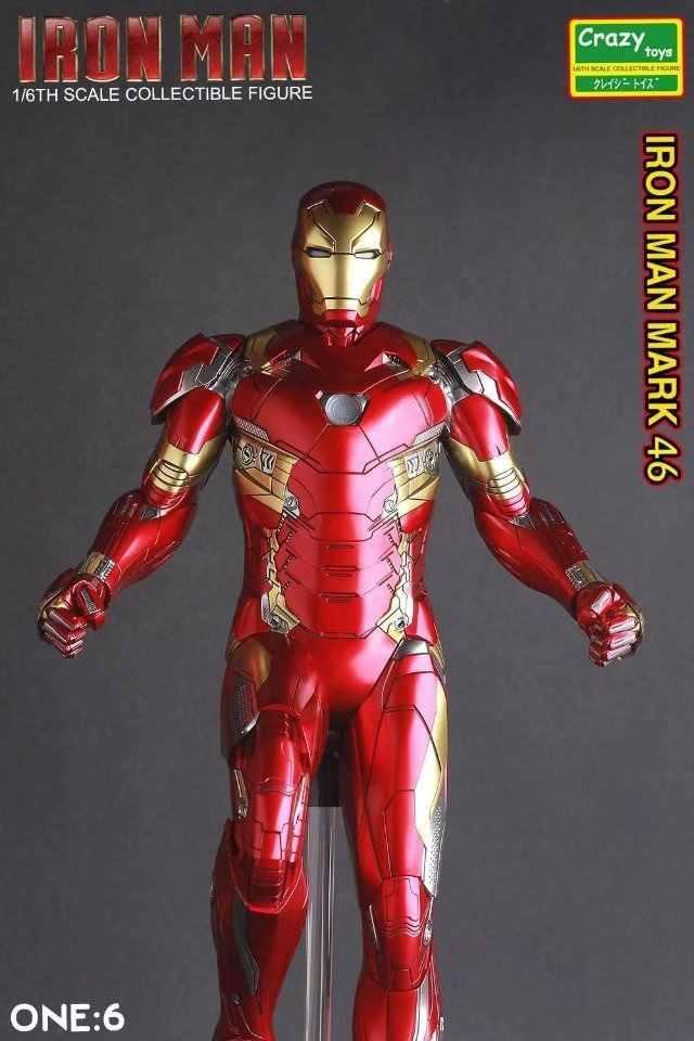 30 سنتيمتر مجنون لعب الرجل الحديدي مارك Xlvi عمل الشكل 1/6 مقياس رسمت الشكل الرجل الحديدي Mk46 Pvc عمل أرقام لعبة brinquedos