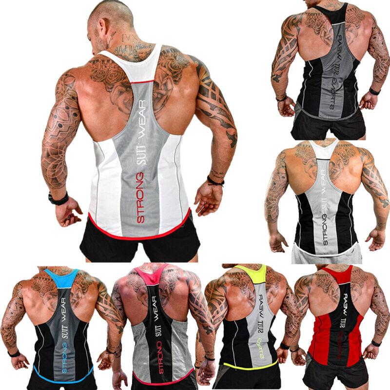 ITFABS Summer Men Gym Muscle Shirt Tank Top Bodybuilding Sport Fitness Basic Tee