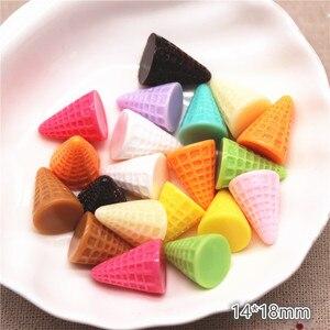 20 шт. милые смешанные цвета 3D полимерные конусные основы для мороженого имитация миниатюрная еда искусство Flatback Кабошон DIY ремесло украшени...