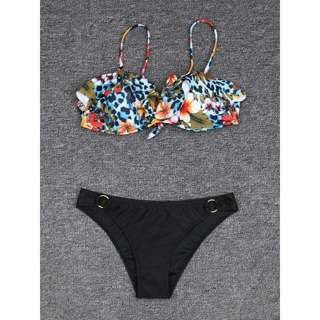 Bikini Floral Druck Bademode Push-Up  4