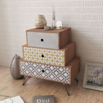 vidaXL Nightstand with 3 Drawers Brown