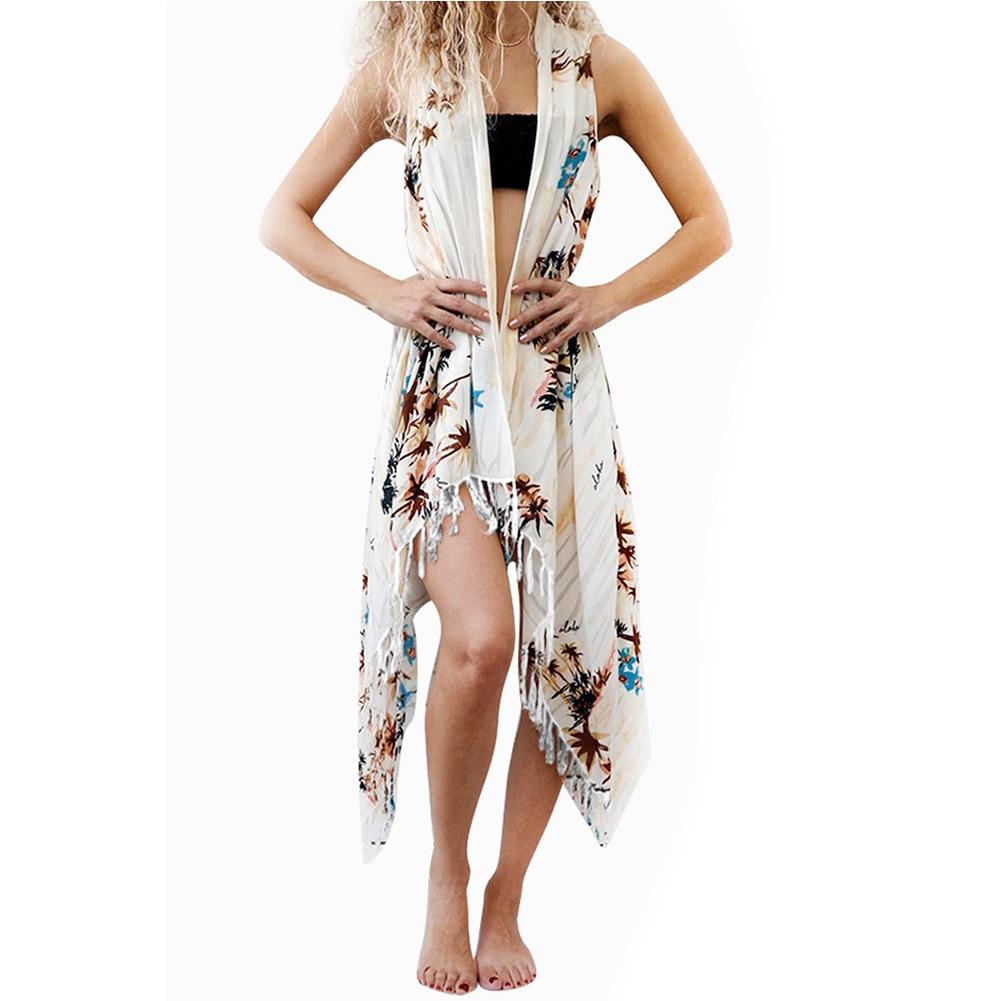 Seaside Holiday Printed Coat Cardigan Bikini Bathing Suit Blouse Mid-length Shawl Coat 420099