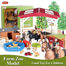 Oenux-figuras de acción en miniatura de granja para niños, Set de animales de granja, granja, caballo, gallina, aves de corral, figurita en miniatura, juguete para regalo educativo con caja