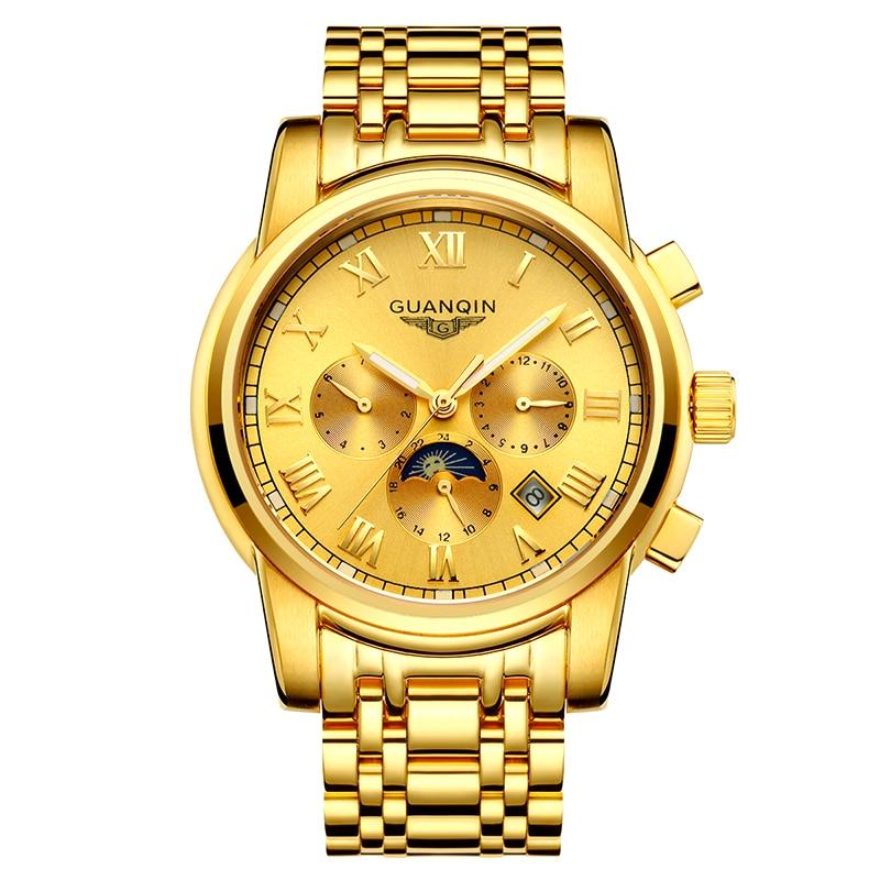GUANQIN GJ16041 orologi degli uomini di marca di lusso Uomini Orologi In Oro Moon Phase Data Mese Settimana Luminoso Zaffiro Uomo Orologio - 2