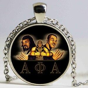 Ожерелье с логотипом Alpha Phi Alpha Fraternity, с символами организации братьев, с греческими буквами, стеклянный кулон, ювелирное изделие
