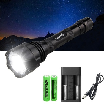 1000 Lumen XML T6 LED Tactical Flashlight 1 Mode Flash light lampe Hunting zaklamp linterna led Torch 18650 Charger ndtusmz 6000 lumen cree xm xml t6 led koplamp zaklamp hoofd lamp light not include 2 18650 oplader and auto charger