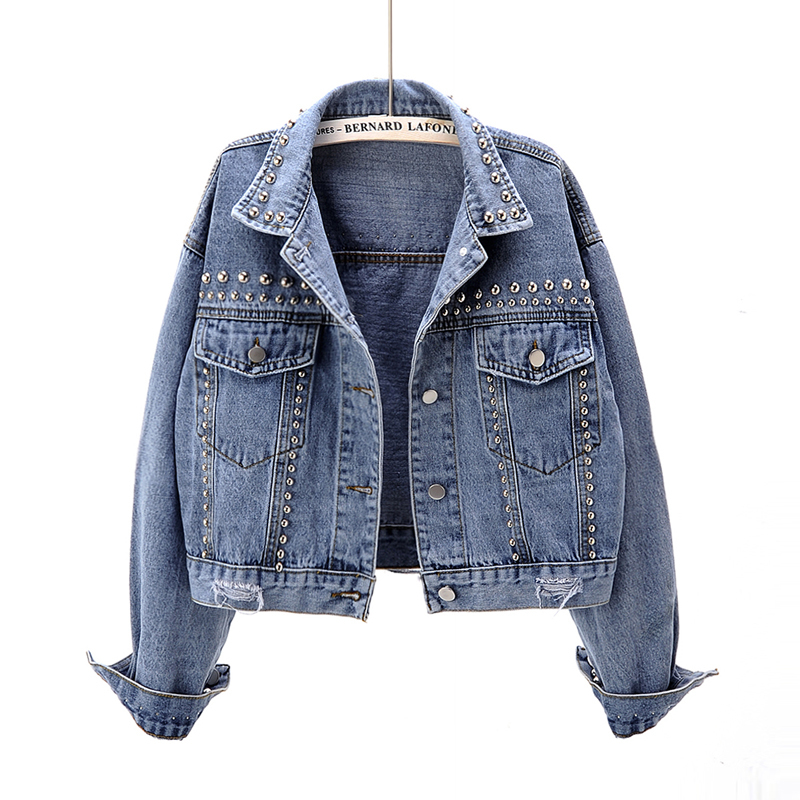 2020 New Spring Autumn Fashion Casual Beading Rivet Jeans Jacket Women Long Sleeve Bomber Jackets Short Denim Jacket Coat Female