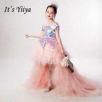 Girls Princess Dress It's Yiiya B019 Shiny Colorful Sequin Flower Girl Dresses Elegant Boat Neck  First Communion Dress For Kids