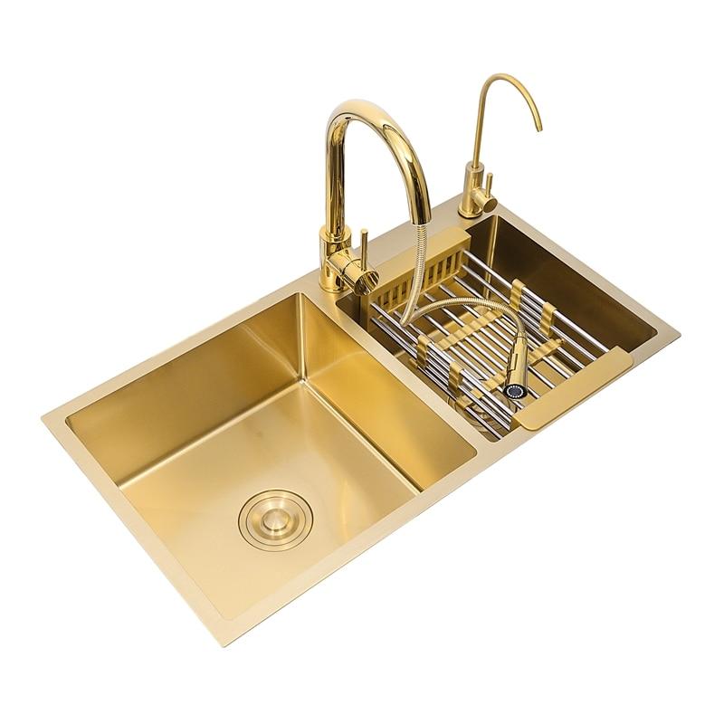 Acima do balcão manual de pia 304 aço inoxidável, tigela única pia cozinha bacia única pia cozinha dreno de ouro 80x45cm