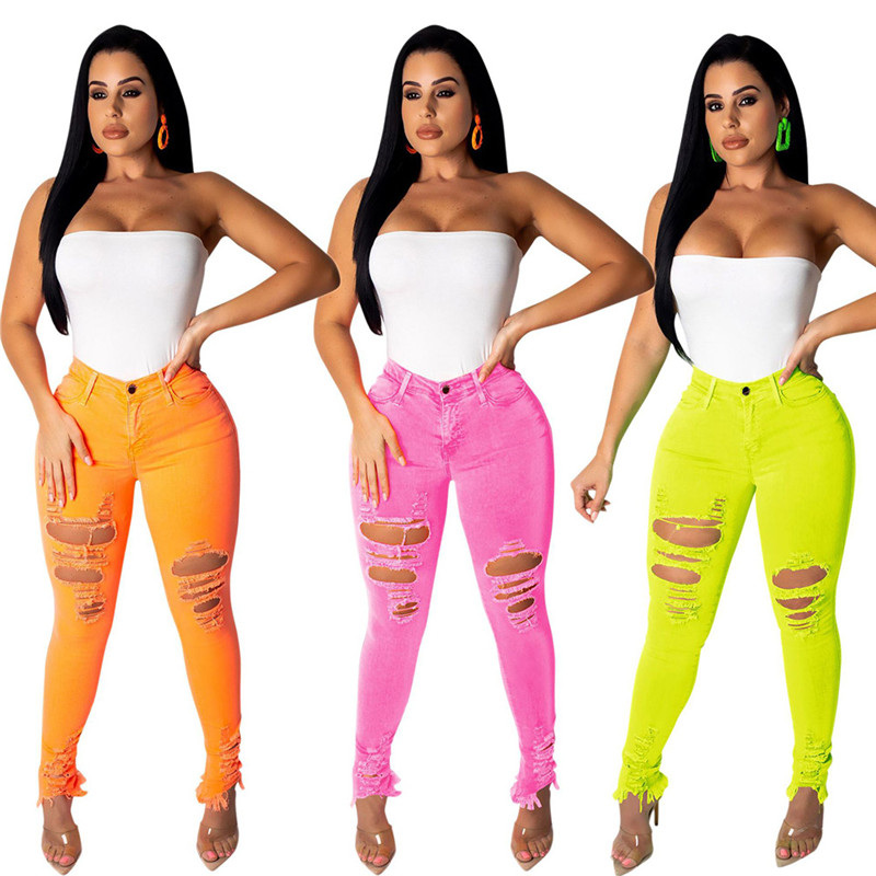 Autumn Women Casual Hole Jeans High Waist Multiple Color Skinny Pant Pencil Jeans Slim Ripped Sexy Female Girls Trousers Jeans