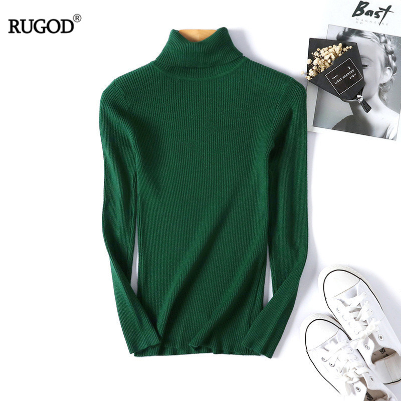 RUGOD Autumn Winter Women Knitted Turtleneck Solid Multiple Color Elastic Sweater  Basic Sweater