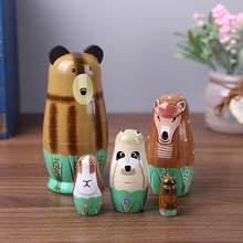 1 Set Nesting Dolls Wooden Cartoon Animals Russian Matryoshka Doll Colorful Painting Ornament Baby Toy Home Decoration Gifts(China)
