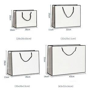 Image 5 - 10 個大白とクラフト紙包装袋衣服のギフト紙袋ハンドル小さな黒紙ショッピングバッグ
