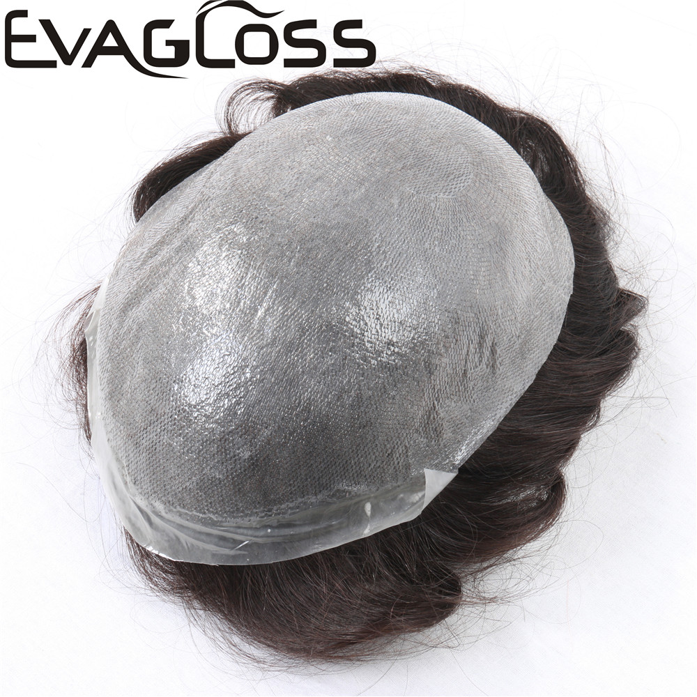 EVAGLOSS Super Thin 100% Remy Human Hair Durable PU Mens Toupee Hair Replacement System For Men Wig