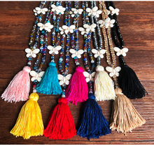 9 color Boho Crystal Beads Butterfly Tassel Long Pendant Necklace For Women Handmade Rainbow Beaded Jewelry Bohemia Ethnic csja long necklace collier silk tassel pendant knotted abalone shell 4mm matte crystal faceted beads charm jewelry handmade s055