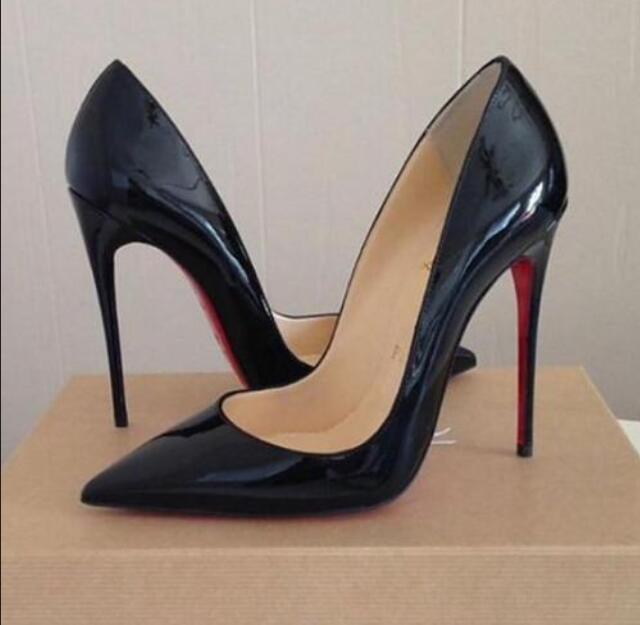 2021 bombas vermelhas mulheres apontou sapatos de salto alto sapatos de casamento boca rasa logotipo luxo 12cm nude/preto couro real tamanho grande 44
