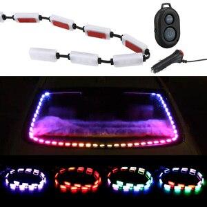 Image 2 - ضوء تحذير الزجاج الخلفي للسيارة ، مصباح شريط LED RGB مع التحكم في الموسيقى ، للجزء الداخلي للسيارة