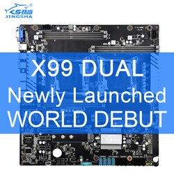 X99 çift CPU JINGSHA anakartlar soket LGA 2011-3 çift Gigabit Ethernet VGA, USB3.0,10 * SATA3.0, NVMe M.2, 8 * DDR4 kadar 256GB