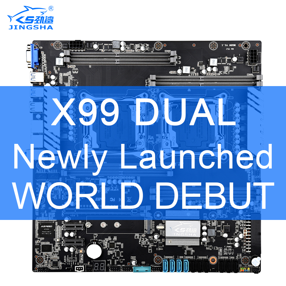 X99 Dual CPU JINGSHA Motherboards Socket LGA 2011-3 Dual Gigabit Ethernet VGA, USB3.0,10* SATA3.0, NVMe M.2, 8* DDR4 Up To 256GB