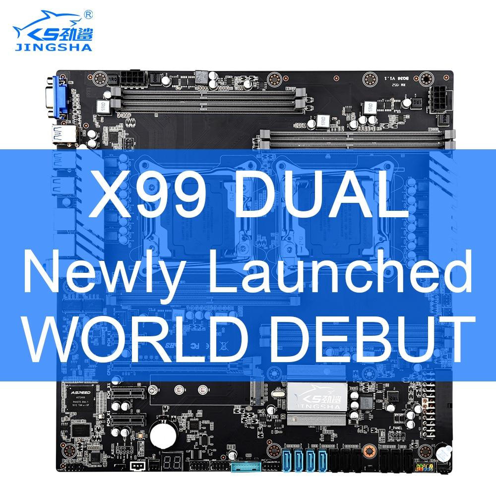 X99 Dual CPU JINGSHA Motherboards Socket LGA 2011-3 Dual Gigabit Ethernet VGA, USB3.0,10* SATA3.0, NVMe M.2, 8* DDR4 Up To 256GB