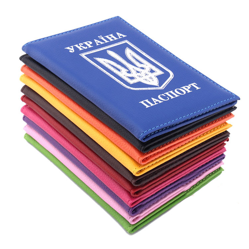 Ukrainian National Emblem Passport Cover PU 2019 New Fashion Leather Travel Unisex Portable Passport Holder Bag Card Wallet