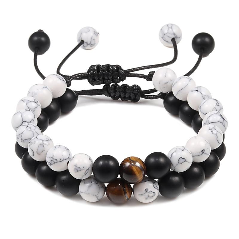 2pcs/set Bead Bracelet Natural Tiger Stone Charm Onyx Beaded Couple Distance Bracelets for Women Men Friend Gift Stretch Jewelry