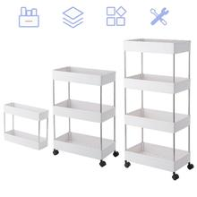 3 Tier/4 Tier Slim Storage Cart Mobile Shelving Unit Organizer Slide Out Storage Rolling Utility Cart Rack for Kitchen Bathroom