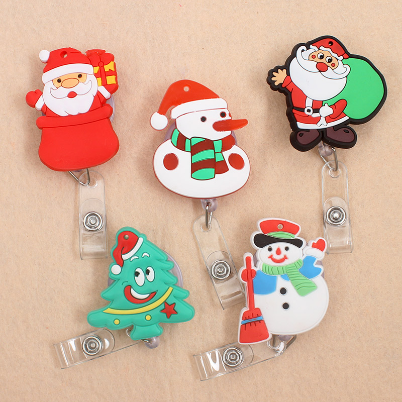 New Cute Christmas Tree & Santa Claus Retractable Pull Badge Reel ID Lanyard Name Tag Card Badge Holder Reels For KIDS
