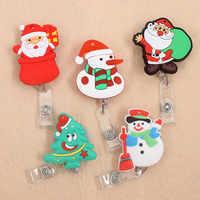 New Cute Christmas tree & Santa Claus Retractable Pull Badge Reel ID Lanyard Name Tag Card Badge Holder Reels For KIDS