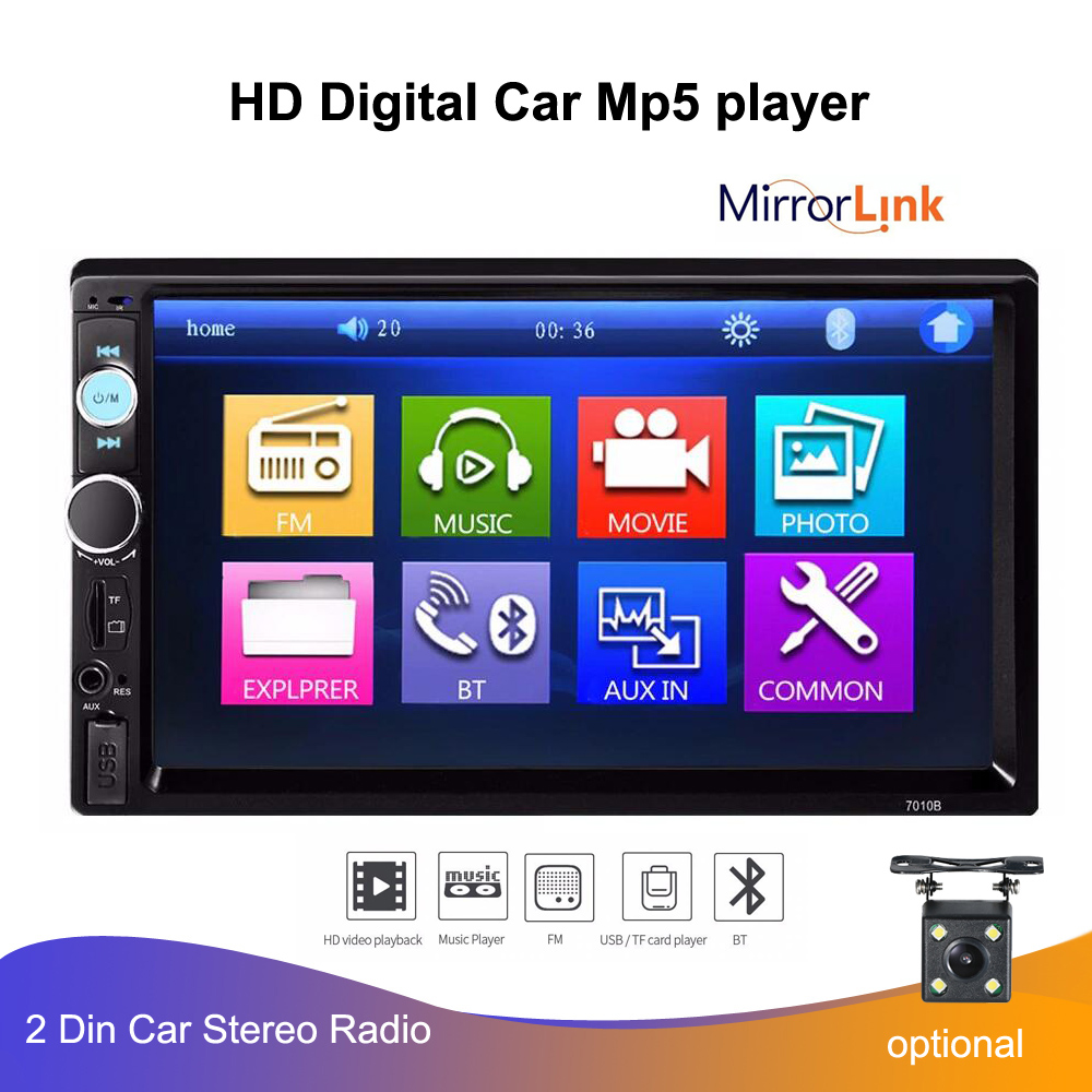 "7"" 2 DIN Car Radio Player HD Auto Rear View Camera Bluetooth FM MP3 MP4 MP5 Audio  Auto Electronics Autoradio Mulitmedia Player"