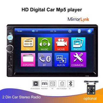 "7"" 2 DIN Car Radio Player HD Auto Rear View Camera Bluetooth FM MP3 MP4 MP5 Audio  Auto Electronics Autoradio Mulitmedia Player"
