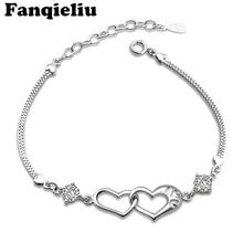 Fanqieliu 925 Sterling Silver Bracelets&Bangles For Women Pulseras Heart Crystal Wedding Jewelry Charms Bracelets FQL20067 fanqieliu crystal wedding jewelry 925 sterling silver chain bracelets