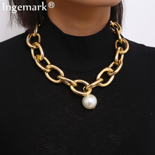 Gothic Big Imitation Pearl Pendant Choker Necklace Steampunk Men Hip Hop Heavy Metal Chunky Lock Chain Necklace Women Jewelry